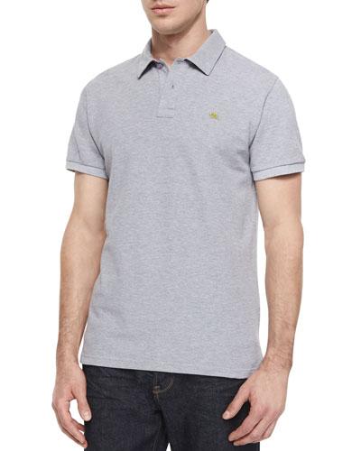 Short-Sleeve Pique Polo Shirt, Gray