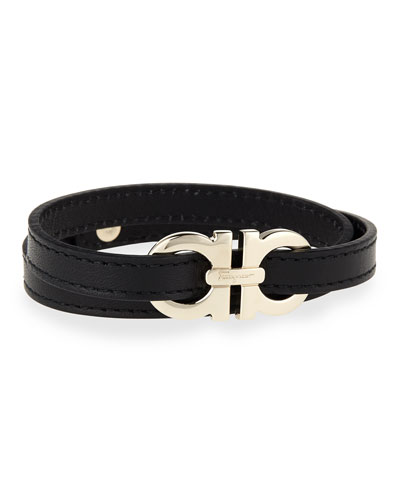 Men's Gancini Leather Wrap Bracelet, Black