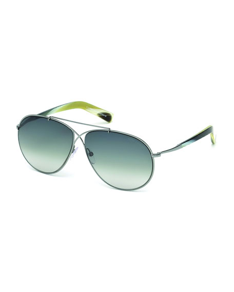 TOM FORD Eva Lightweight Aviator Sunglasses, Silver
