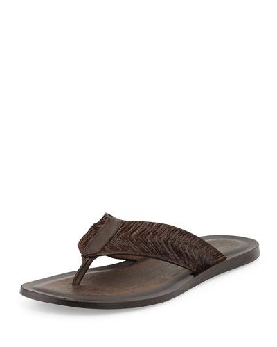 Artisan Leather Thong Sandal, Dark Brown