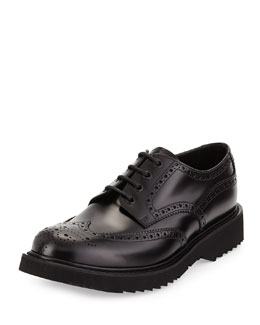 Rubber-Sole Wing-Tip Derby Shoe, Black