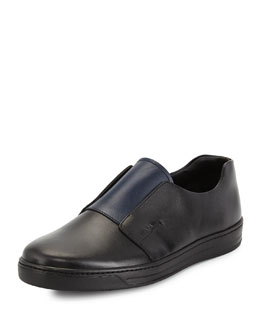 Stamped Leather Slip-On Sneaker, Black/Blue
