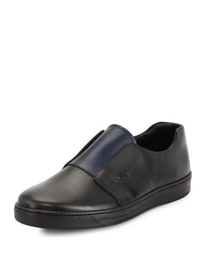 Stamped Leather Slip-On Sneaker, Black/Blue