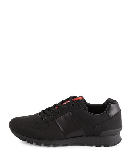 Leather & Nylon Running Sneaker, Black