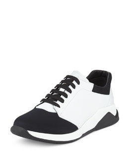 Leather & Neoprene Mid-Top Sneaker, Black/White