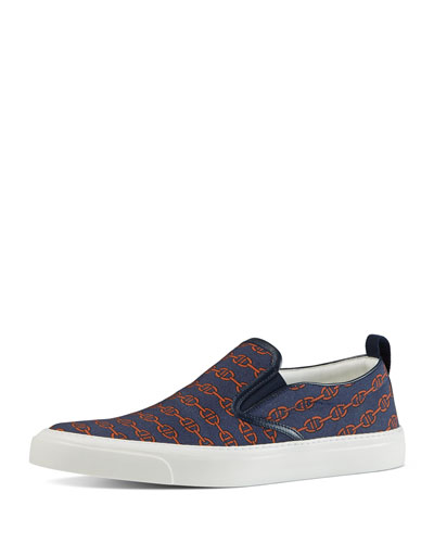 Horsebit Pinstripe Print Slip-On Sneaker, Blue