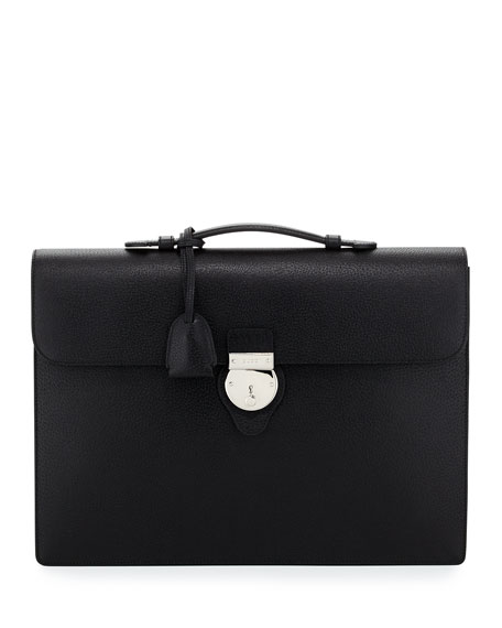 Buckle-Flap Leather Briefcase, Black