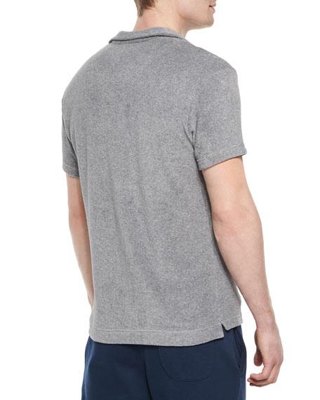 Terry Short-Sleeve Polo Shirt, Gray