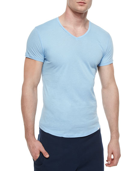 Bobby V-Neck Knit T-Shirt, Sky Blue