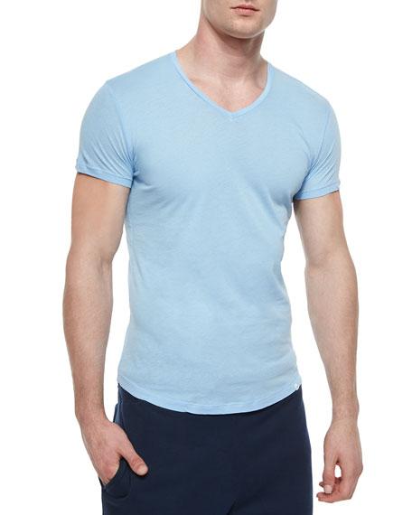 Bobby V-Neck Knit T-Shirt, Sky Blue