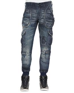 Ammi Cargo Denim Jeans, Indigo