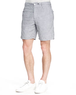 Striped Cotton Shorts, Navy/White