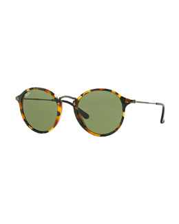 Round Acetate Sunglasses, Green Tortoise