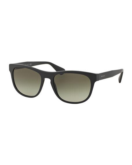 Rectangular Acetate Sunglasses, Dark Gray
