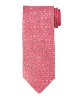 Gancini-Print Silk Tie, Pink