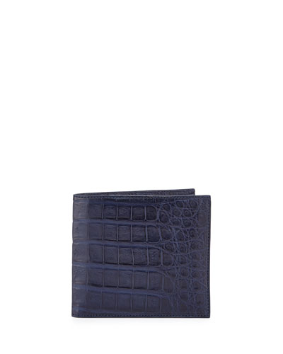 Crocodile Bi-Fold Wallet, New Navy