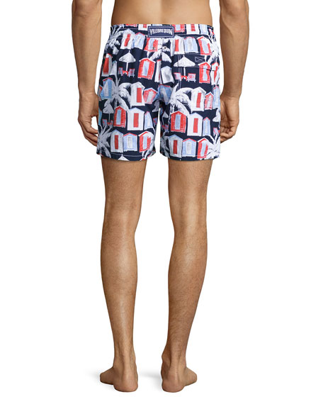 Moorea Cabana-Print Swim Trunks, Navy
