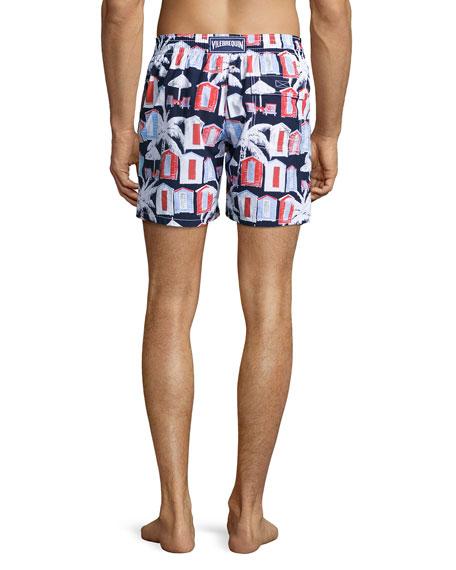 Moorea Cabana-Print Swim Trunks, Navy