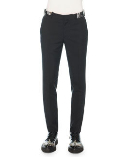 Slim-Fit Trouser with Poppy Brocade, Black