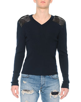 Crewneck Sweater with Poppy-Brocade Shoulders, Navy