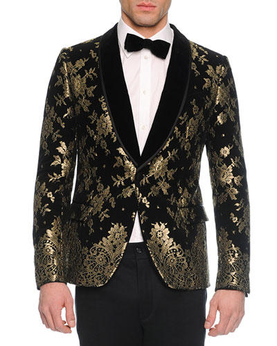 Chantilly Lace Velvet Evening Jacket, Black/Gold
