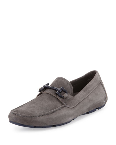 Soft Suede Gancini Driver, Gray
