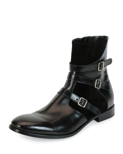 Three-Strap Leather Harness Boot, Black
