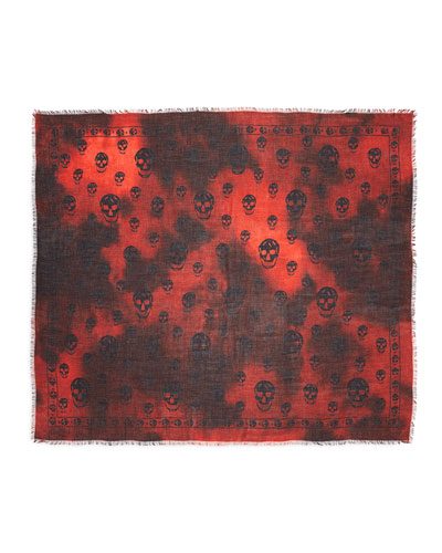 Tie-Dye Skull Shawl, Red/Black
