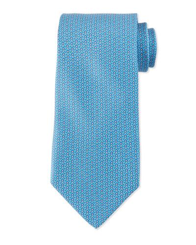 Gancini-Print Silk Tie, Light Blue