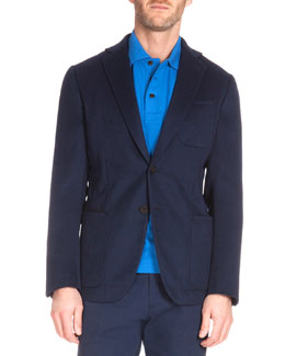 Two-Button Unlined Cashmere Jacket, Blue
