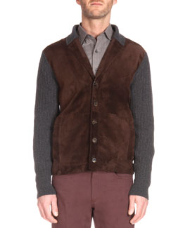 Ribbed Cardigan with Suede Front, Charcoal