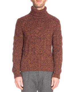 Speckled Cashmere Turtleneck Sweater, Brown