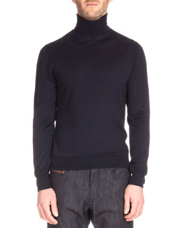 Long-Sleeve Turtleneck Sweater, Navy