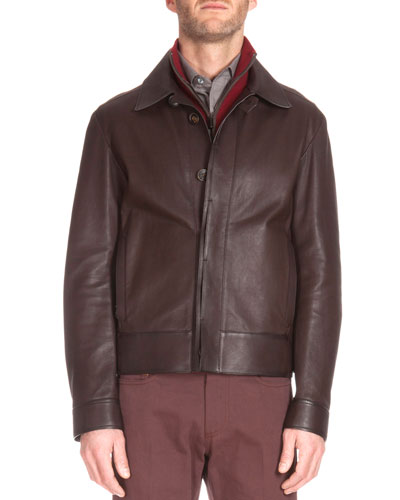 Short Leather Jacket, Dark Brown