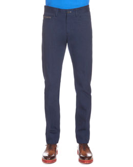 Five-Pocket Denim Pants, Blue