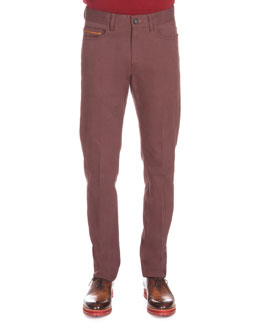 Five-Pocket Denim Pants, Wine
