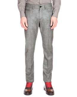Flannel Flat-Front Pants, Charcoal