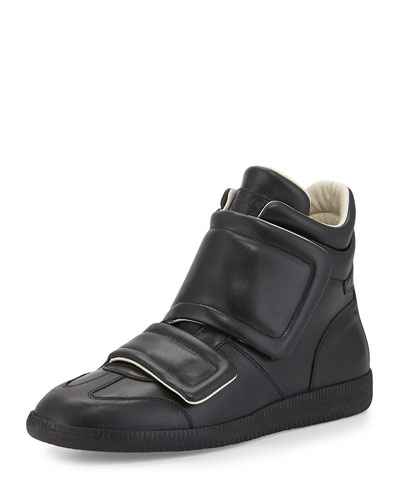 Clinic Two-Strap High-Top Sneaker, Black