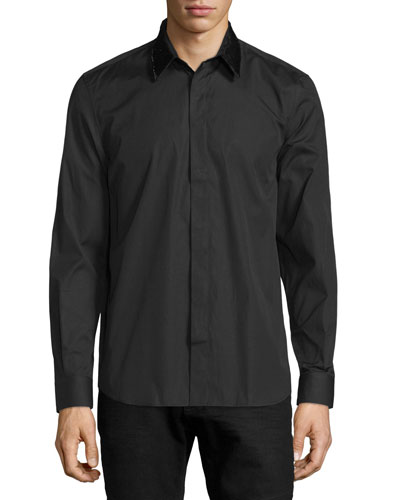 Sequin-Collar Sheer Poplin Shirt, Black