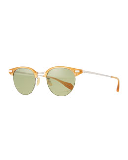 Executive II Half-Rim Sunglasses, Amber Tortoise