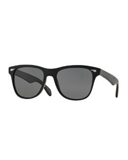 Lou 54 Polarized Square Plastic Sunglasses, Black