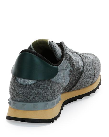 Rockrunner Camo-Print Felt Sneaker, Gray