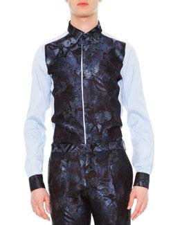 Camu Butterfly Paneled Dress Shirt, Blue