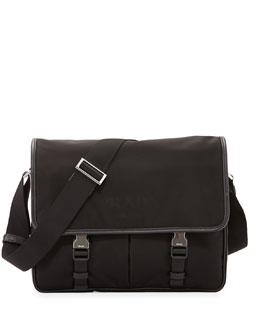 Large Nylon Messenger Bag, Black