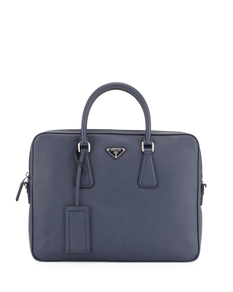 05268c5bec03 Prada Saffiano Slim Briefcase with Shoulder Strap