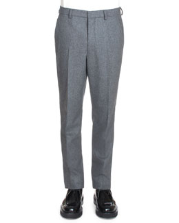 Carrot Slim-Fit Trousers, Gray