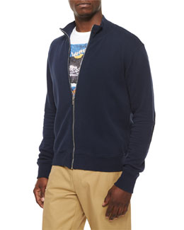 Knit Zip-Up Sweatshirt with Elbow Patches, Navy/Black