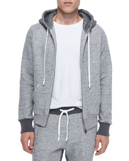 Knit Zip-Up Hoodie, Gray