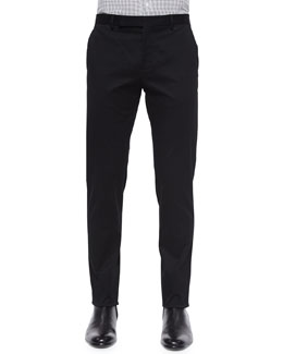 Slim-Fit Twill Trousers, Black
