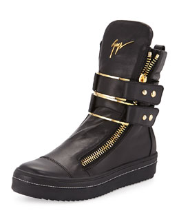 Men's Leather High-Top Sneaker with Buckle, Black
